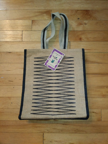 Beige with Black Pattern Jute Tote Bag