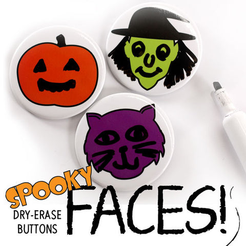 Spooky Faces Dry Erase Buttons