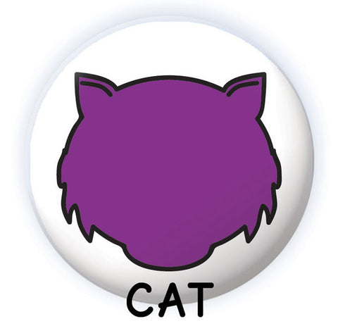 Spooky Face Dry-erase button cat design from People Power Press