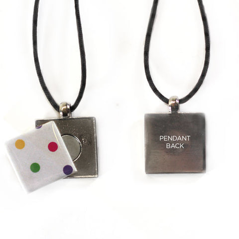 Square Button Pendant Necklace with technology by Artclix