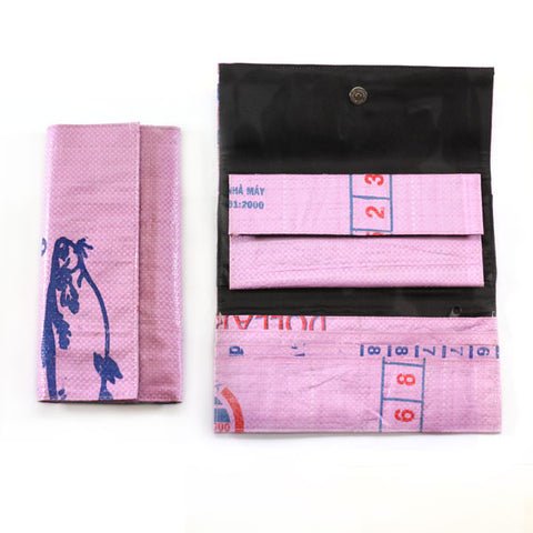 Tri-Fold Long Recycled Rice Bag Wallet