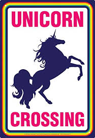 Unicorn Crossing Aquarius Metal Sign