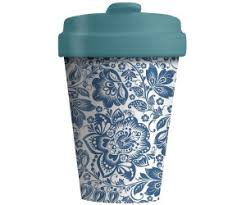 travel cup with blue flowers