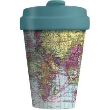 world map bamboo coffee mug re-usable