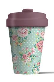 vintage style roses resusable coffee cup