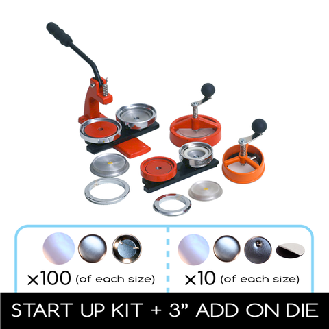 "Flex1000 Multi sized button maker deal 2-1/4"" and 3"" die sets"