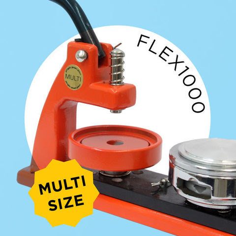 FLEX1000 Multi-size button maker with interchangeable diesets
