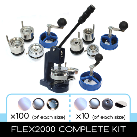 Flex2000 Multiple sizes button making machine complete kit 1 inch 1.5 inch 2.25 inch