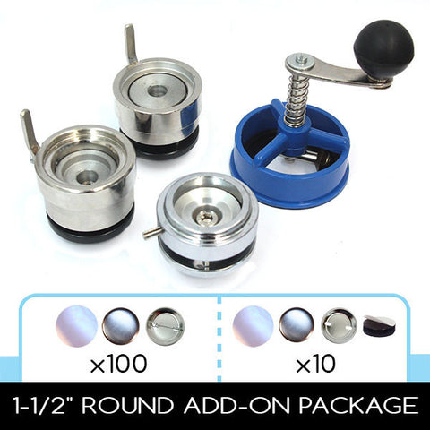 "1.5"" die and 1-1/2"" cutter for button machine. Comes with pinback button supplies and magnets"