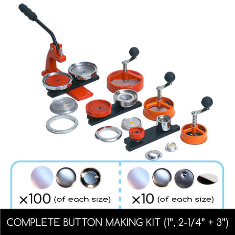 FLEX1000 Multi-size button maker & Start Up Kits with interchangeable diesets