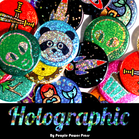 Holographic glitter pinback button collection cover
