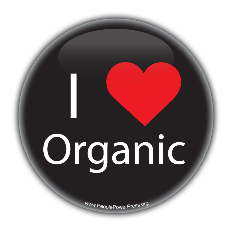 I Heart Organic - Black - Environmental button.