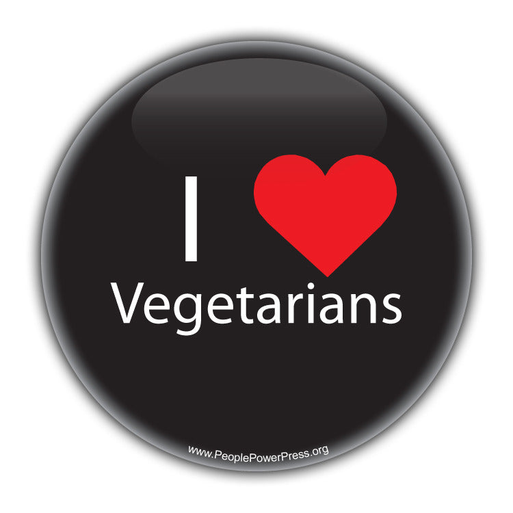 I Heart Vegetarians - Black - Vegan & Vegetarian Button