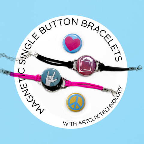 Magnetic Button Charm Bracelets with technology by Artclix and Designs by People Power Press