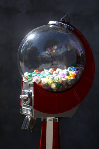 Button Vending Machine using a Beaver Meridian Gumball Machine