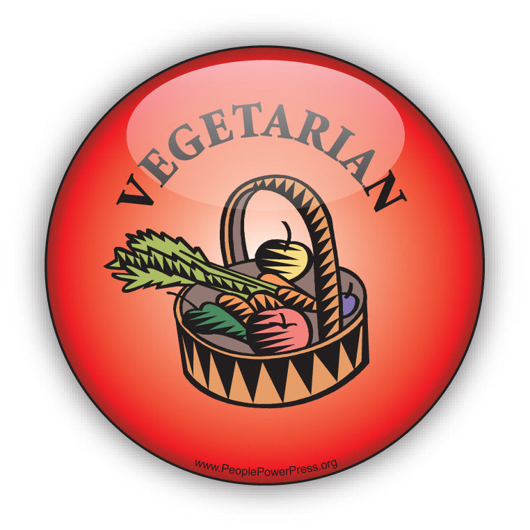 Vegetarian Button - Red