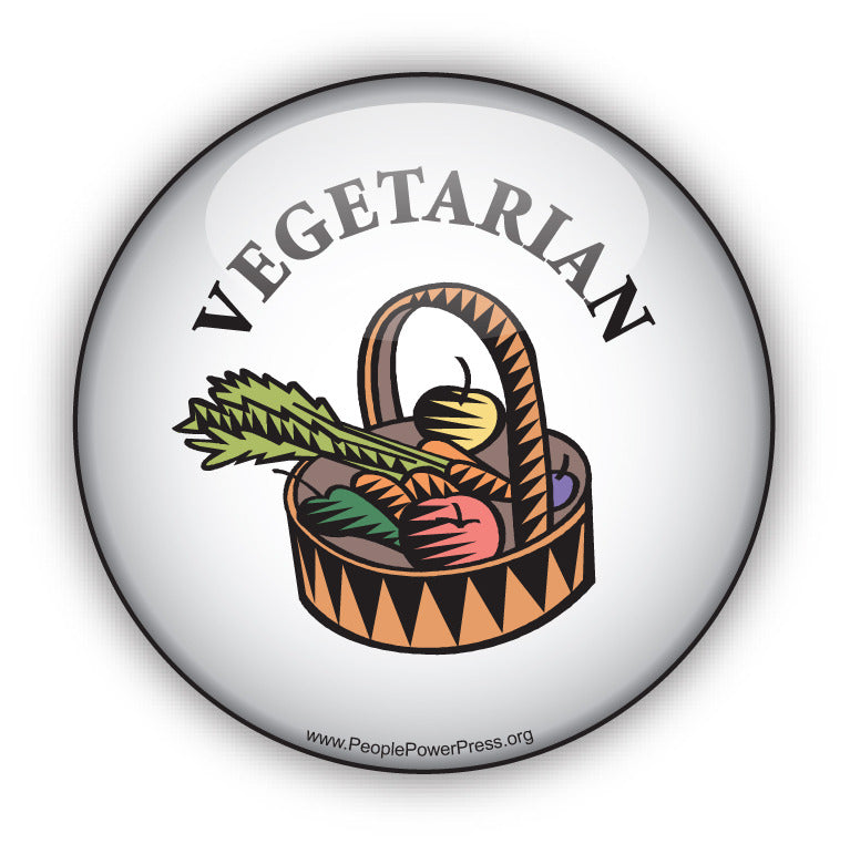 Vegetarian Button - White