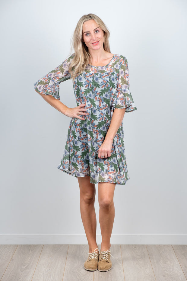 Ginny Dress Green Floral from White Chalk Ltd