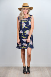 Large Navy Floral Millie Dress from White Chalk Ltd