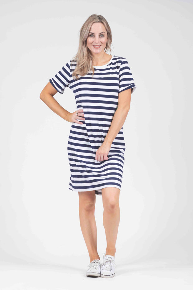 Dress - Navy/White Stripe