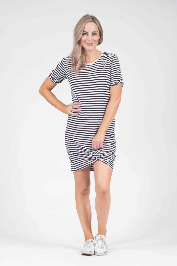 Dress - Black/White Stripe