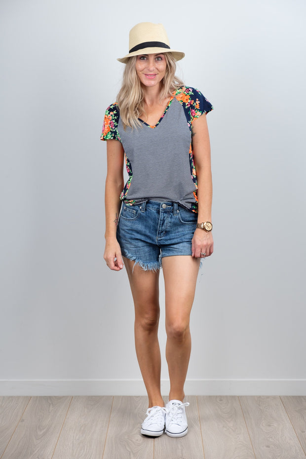 Navy Floral Sleeve Wallace Top from White Chalk Ltd
