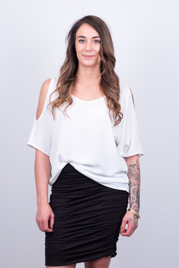 Beaut White Cold Shoulder Top from White Chalk Ltd
