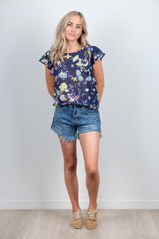 Navy Floral Cross Top from White Chalk Ltd