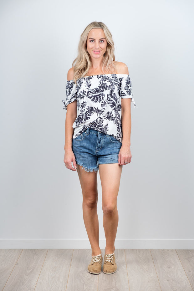 Black and White Leaf Darcie Top from White Chalk Ltd