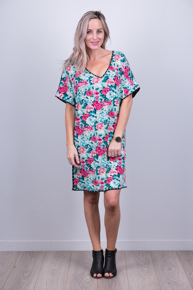 Clara Dress with Floral Front from White Chalk Ltd