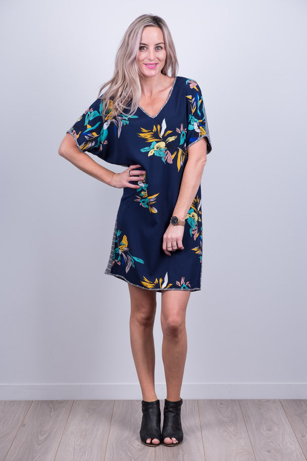 Clara Dress with Navy Floral Front from White Chalk Ltd