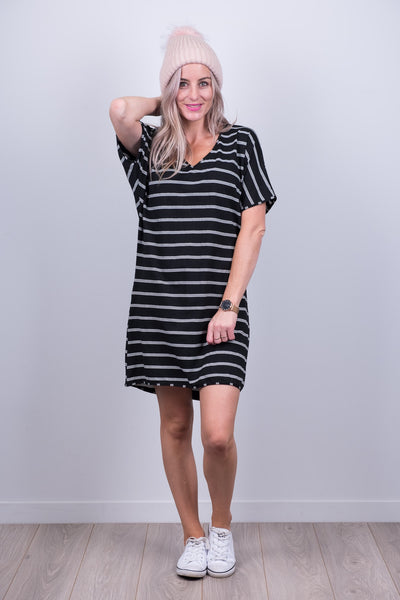 Clara Dress with Black and White Stripe from White Chalk Ltd