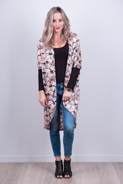 Grey Floral Tussock Jumper Cardi from White Chalk