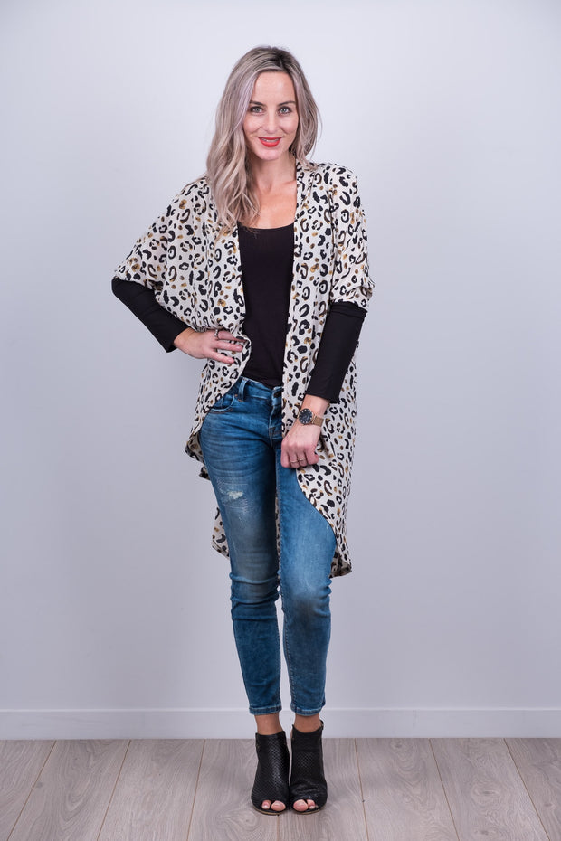 Nude Animal Print Tussock Jumper Cardi from White Chalk