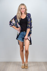 Friday Kimono Navy Floral from White Chalk Ltd