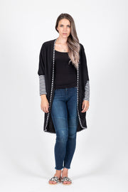 Cardigan - Black/Stripe