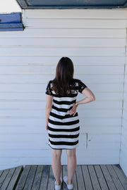 Lacey Dress - B&W Stripe