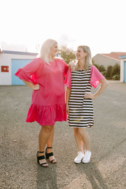 Breast Cancer Belle Dress - Pink & B&W Stripe