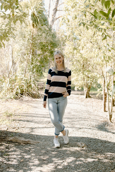 Audrey Jumper - Navy/Blush/White Stripe