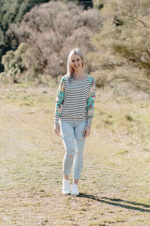 Audrey Jumper - Stripe/Green Floral