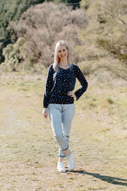 Split Front Top - Navy Spot