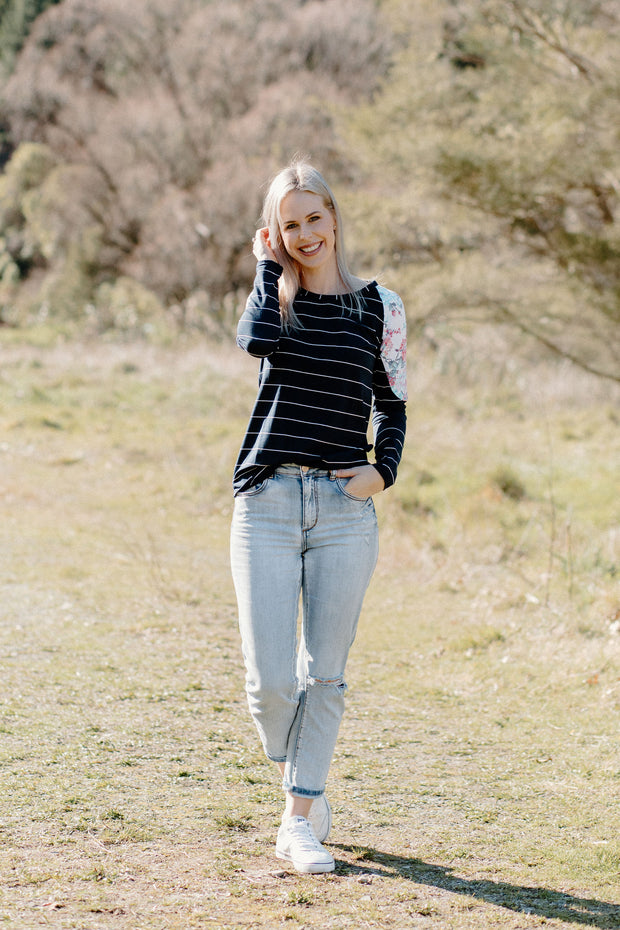 Bailey Top - Navy Stripe/White Floral