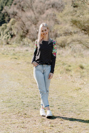 Bailey Top - B&W Stripe/Mustard Floral