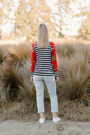 Audrey Jumper - Stripe / Red Floral
