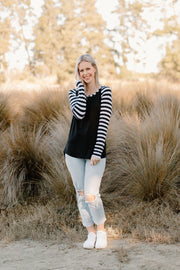 Colette Top - B&W Stripe / Black