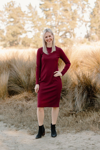High Neck Dress - Merlot
