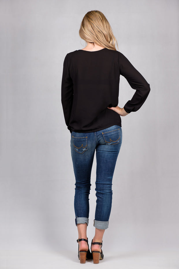 Split Front Top - Black