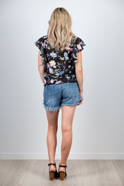 Black Floral Cross Top from White Chalk Ltd