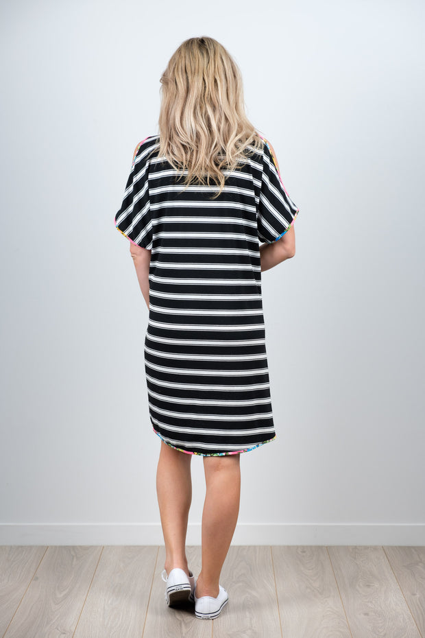 Sofia Dress - B&W Stripe Front