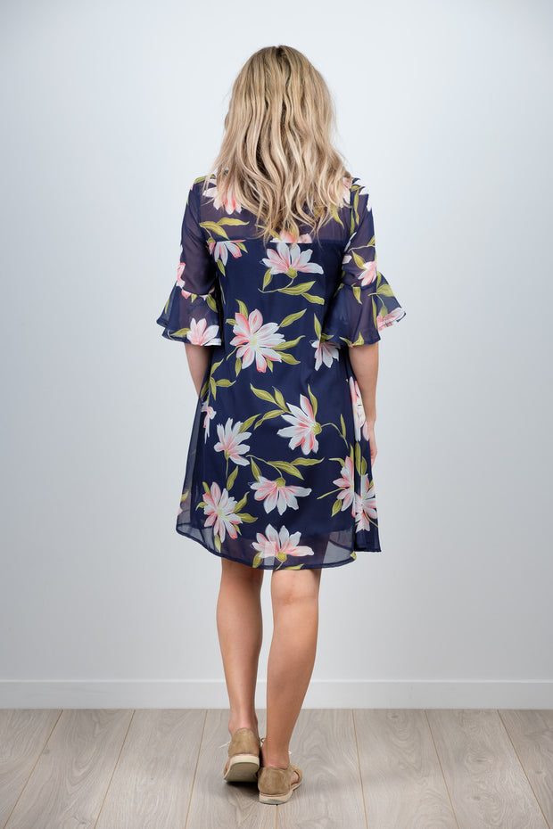 Ginny Dress - Large Navy Floral
